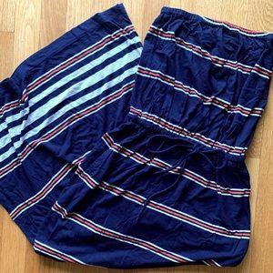 J Crew maxi dress, strapless with pockets.